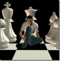 9420665-man-sitting-on-chessboard-among-team-of-white-chess-pawns-3d-illustration