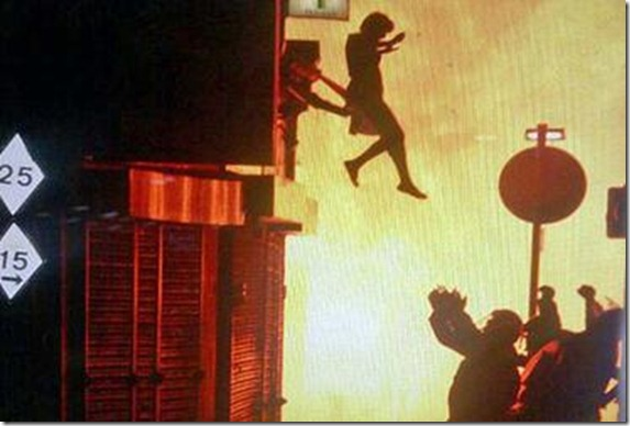 EDITOR'S NOTE: REUTERS CANNOT INDEPENDENTLY VERIFY CONTENT THIS STILL IMAGE </p><br /><p>A woman jumps from a burning building in Surrey Street in London in this image taken from Twitter August 8, 2011. Riots spread to new areas of London on Monday while looting also erupted in the city of Birmingham as Britain's worst unrest in decades escalated in a third night of violence. There was no information available on the outcome of the woman, after this jump.    REUTERS/Twitter     (BRITAIN - Tags: CIVIL UNREST POLITICS IMAGES OF THE DAY) NO SALES. NO ARCHIVES. FOR EDITORIAL USE ONLY. NOT FOR SALE FOR MARKETING OR ADVERTISING CAMPAIGNS. THIS IMAGE HAS BEEN SUPPLIED BY A THIRD PARTY. IT IS DISTRIBUTED, EXACTLY AS RECEIVED BY REUTERS, AS A SERVICE TO CLIENTS